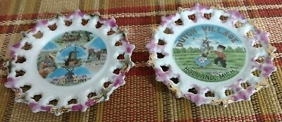 "Pair Vintage Holland Michigan 6 1/4"" Ceramic Souvenir Decorative Hanging Plates"