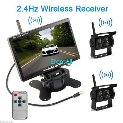 "Wireless 7"" Monitor+IR Rear View Night Vision Backup 2 Camera Kit For Truck Bus"