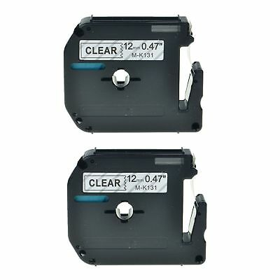 2PK M-K131 MK 131 MK131 Black On Clear Label Tape For Brother P-Touch PT-80 12mm