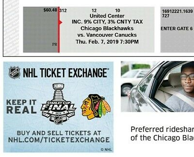 1X CHICAGO BLACKHAWKS TICKET- vs VANCUVER CANNUCKS - 7 FEB 2019