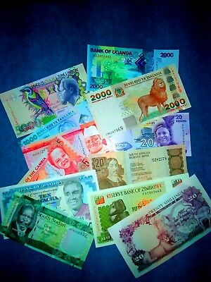 Africa - Big Lot Of 12 Mixed Exotic Notes