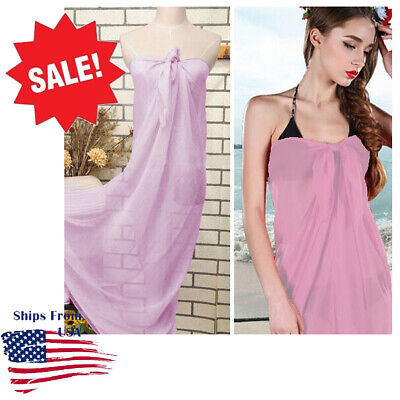 faeb62a510001 Pink Solid Color Sheer Pareo Dress Sarong Beach Bikini Swim Cover Up Scarf  Wrap