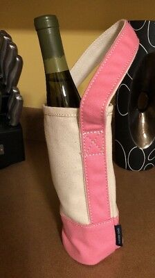 NEW LANDS END Canvas Single Bottle Wine water bottle Tote Carrier Bag beige Pink