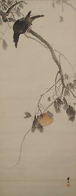 #1101 Japanese Hanging Scroll: Crow on Persimmon Tree