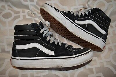 Ladies Vans Old Skool High Top Style Size 4 Black And White Lace Up