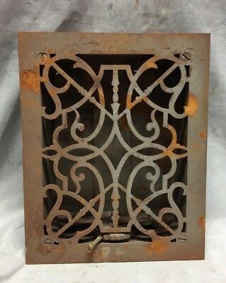 One Antique Cast Iron Decorative Heat Grate Floor Register 7X9 Vintage 34-19C