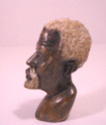 Hand Carved African Man Elder Hard Stone Statue Bust Beautiful!