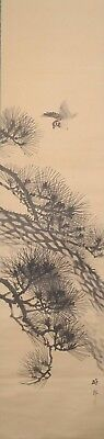 #1104 Japanese Hanging Scroll: Sparrow and Pine Tree