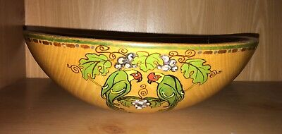 Primitive Hand Crafted Wooden Bowl Art Deco Period Painted Birds Artist Signed