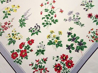 Vintage Tablecloth Wild Flower Print Floral California Hand Prints ? Garden Exc