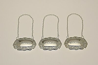 Silver Plated Decanter Labels, Whisky Brandy and Sherry