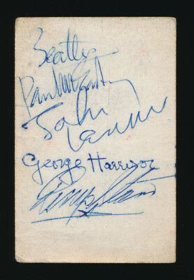 Beatles OUTSTANDING MID 1963 BAND BUSINESS CARD SIGNED BY ALL FOUR BEATLES!