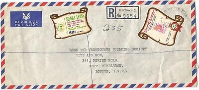 Sierra Leone 1969 registered cover to Wimbledon rated 33 1/2c (30 + 3 1/2)