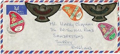 Sierra Leone 1968  airmail cover to Surrey rated 30c (15+9 1/2+3 1/2+1 1/2+1/2)