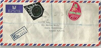 Sierra Leone 1967 registered airmail cover to Wimbledon rated 30c (20+7+3)
