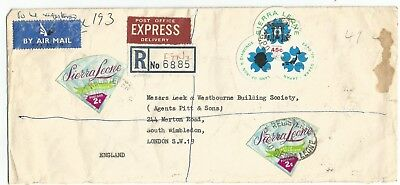 Sierra Leone 1972 registered airmail express rate cover to Wimbledon rated 49c