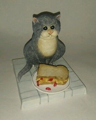 """Comic and Curious Cats """"Chip Butty"""" Figure by Border Fine Arts, RARE"""