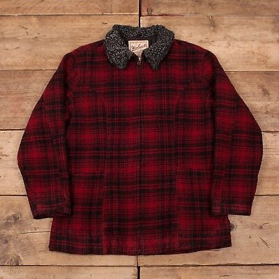 Womens Vintage Woolrich Red Buffalo Check Wool Jacket Coat USA Large 14 R11147