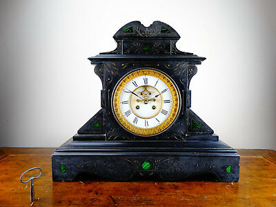 Antique Victorian French Mantel Clock in Black Slate & Malachite Chiming 8 Day