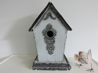 OOAK BIRDHOUSE with ANTIQUE ROOF CEILING TILES French Blue SIMPLY SHABBY CHIC