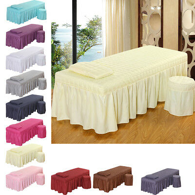 190x80cm Massage Beauty Bed Linen Set Table Skirt Pillowcase Stool CoverS