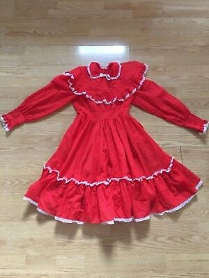 Vintage girls dress size 8 Red with ruffles.