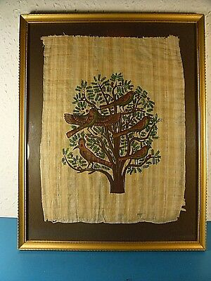 Hand Painted 5 Birds In A Tree.Textile Linen.Framed & Glazed.15.75 x 12.5 Inches