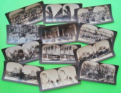 12 Diff ca 1890's to 1920's KEYSTONE STEREOVIEW CARDS Real Photo Views USA World