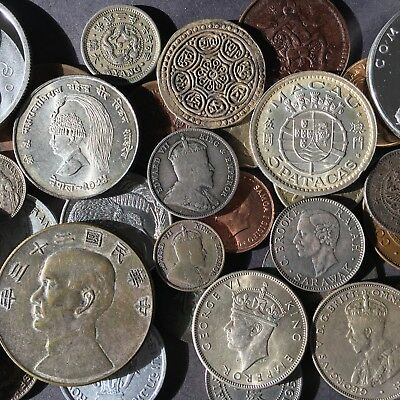 36 ASIA WORLD COIN LOT with CHINA JUNK SILVER DOLLAR
