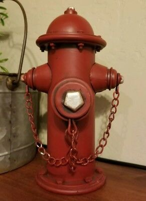 Firefighter Hydrant Vintage Metal Bank Fire Department FDNY Man cave Office Room