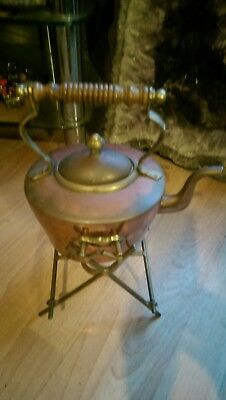 Old Copper And Brass  Kettle And Tipping Frame
