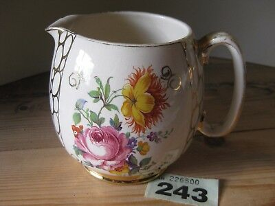 Vintage Sadler Gold Floral Flower Shabby Chic Milk Water Jug Dresser Display A/F