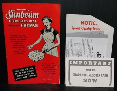 Sunbeam Controlled Heat Automatic Frypan 1953 Manual FP-10 FP-11 Cookbook extras