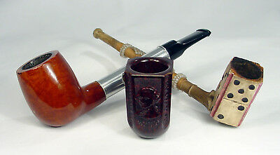 Lot of 3 Vintage Pipes, Medico, Clay, & a Unsmoked George Washington