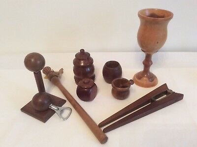Vintage JOB LOT WOODEN Treen Items Pots/Goblet/Scottish Spurtle/Pestle & Mortar
