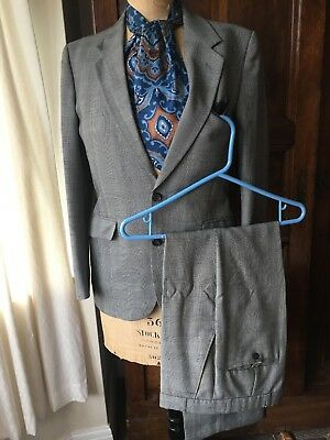 """Vintage Dunn & Co prince of wales grey single breasted suit size 36 31.5"""" Mod"""
