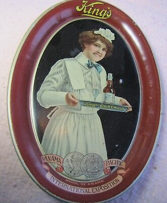 King's Puremalt Advertising Tip Tray, Pictures Attractive Waitress, N-mint