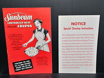 Sunbeam Controlled Heat Automatic Frypan 1953 Manual 323-0174R Cookbook extra