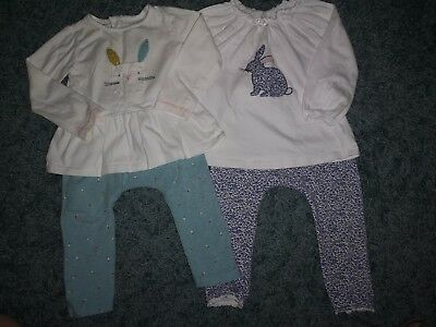 Next Baby Girls Bundle Leggings And Tops T Shirts Outfits Size 12-18 Months