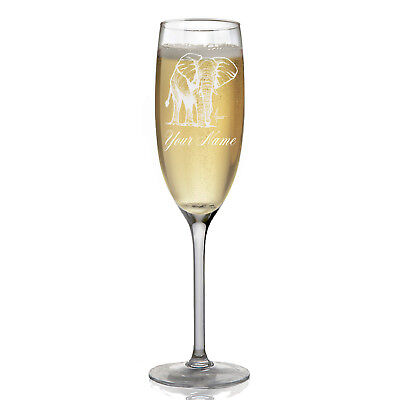 Personalized Champagne Glass - African Elephant