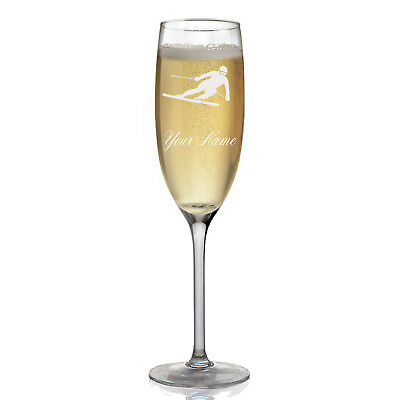 Personalized Champagne Glass - Skier Downhill