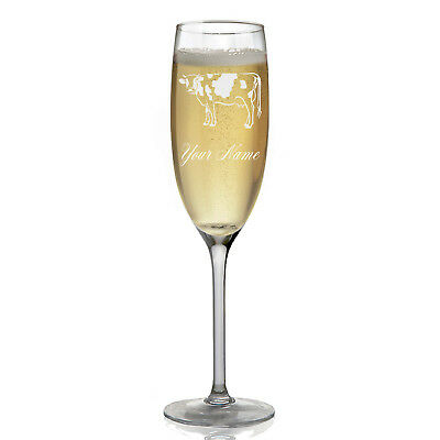 Personalized Champagne Glass - Cow