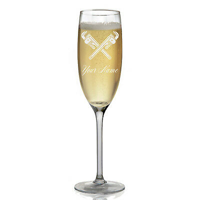 Personalized Champagne Glass - Wrenches