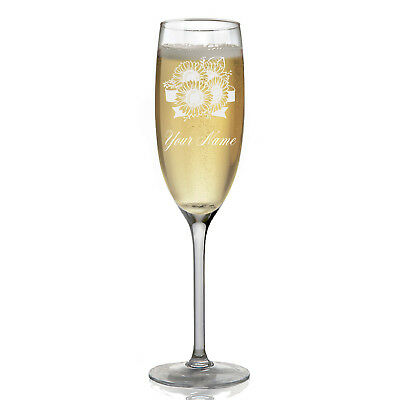 Personalized Champagne Glass - Sunflowers
