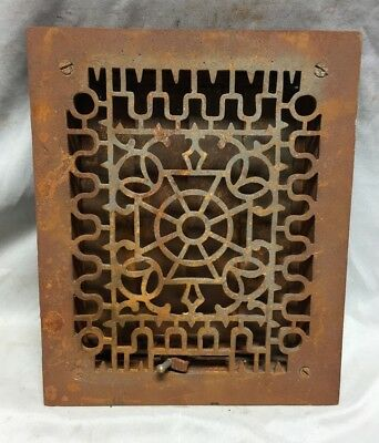 One Antique Cast Iron Decorative Heat Grate Floor Register 8X10 Vintage 36-19C