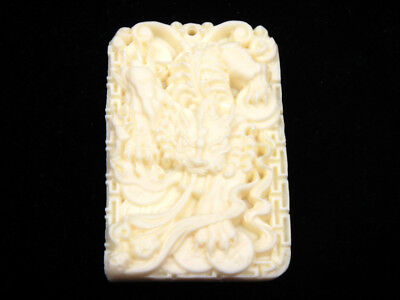 Solid Bone Detailed Hand Carved Pendant Dragon Offspring Pi-Xiu Coins #12041806