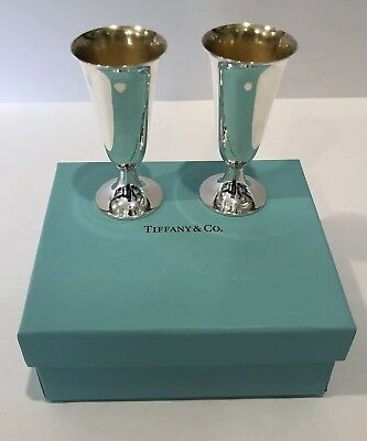 Minty! Vintage Tiffany & Co. Sterling Silver Goblets Vodka Shot Cups Set of 2