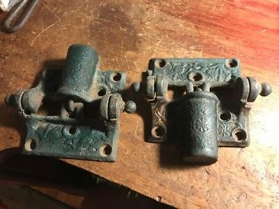 Antique Pair Of E C Stearns Screen Door Spring Hinge Victorian Ornate Cast Iron