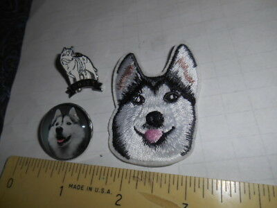 2 Siberian Husky Dog Pins & Husky Iron On Patch (Lapel & Shirt Pins)