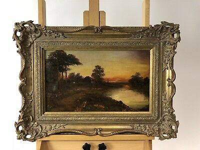 BEAUTIFUL ANTIQUE 19thc FRAMED COUNTRY RIVER LANDSCAPE OIL ON CANVAS PAINTING